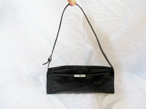 FURLA ITALY Purse Shoulder Bag Belted Swingpack BLACK Silver