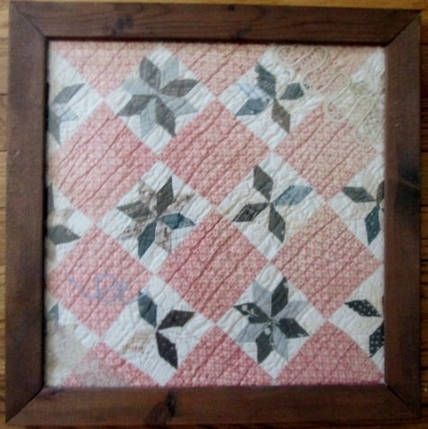 "16.5"" OLD THREADS Antique Quilt Collages PINWHEEL Framed Blanket Americana Handmade"