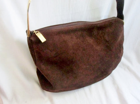 APOSTROPHE Suede indie hobo satchel shoulder bag purse BROWN ESPRESSO Leather Crossbody