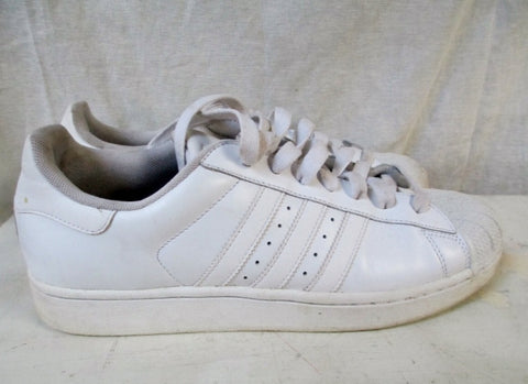 EUC Mens ADIDAS Mesh Sneaker Trainer Athletic Shoe Leather 789002 WHITE 10