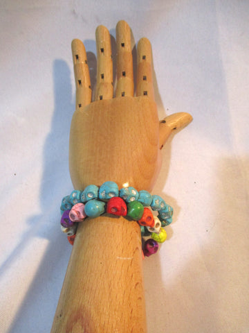 Set Lot SKULL Beaded Bracelet SKELETON HEAD Turquoise Stone Boho