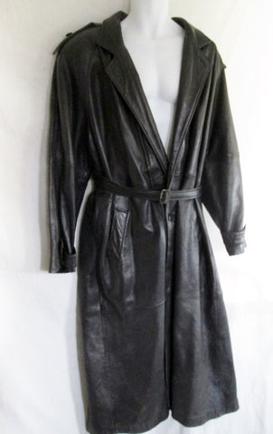 Mens PHILIPPE MONET LEATHER Maxi TRENCH COAT Jacket Parka 46 BLACK Duster Belt