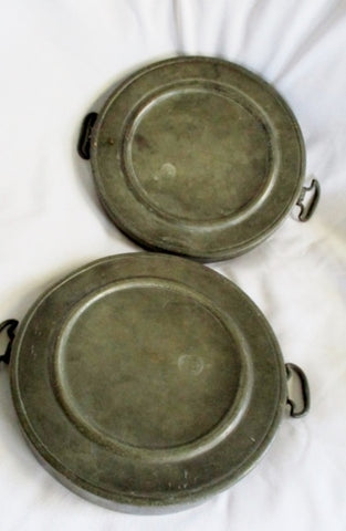 ANTIQUE Set  1790s 1800s CARPENTER HAMBERGER Pewter Round Warming Plate