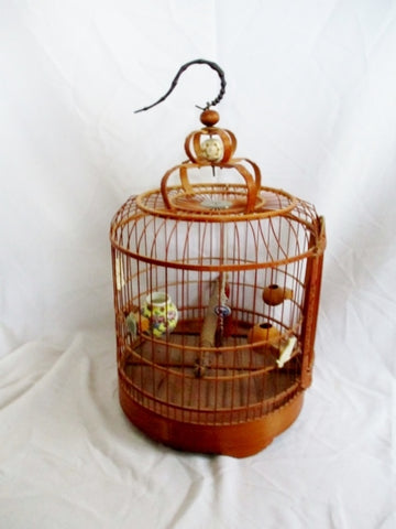 Antique CANTONESE WOOD Carved Art BIRD CAGE BIRDCAGE CHINA BAMBOO