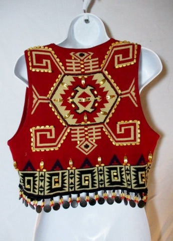 ANDREA JOVINE Ethnic Aztec Maya Fringe Vest BLACK RED Beaded P Wool Womens