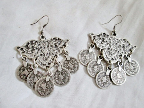 Ethnic Silver Coin CHANDELIER Dangle EARRINGS Set Belly Dancer Boho Jewelry Hippie