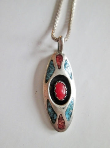 Native 925 STERLING SILVER Necklace Jewelry Southwestern Turquoise Red Stone Cowgirl