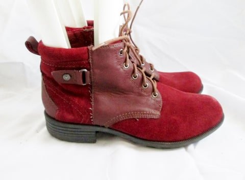 Womens EARTH ORIGINS PARKER Ankle Suede Leather Boot 11 RED Bootie Lace Up