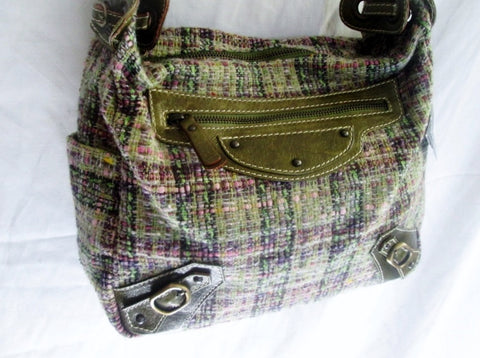 NEW NWT HELEN WELSH ITALY leather woven shoulder bag Satchel GREEN MOSS Loop