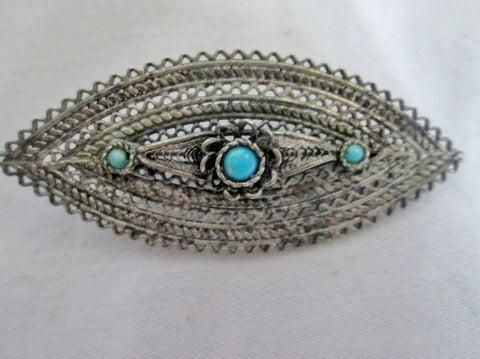 Vtg 1928 SILVER FILIGREE OVAL BROOCH PIN Southwestern Jewelry TURQUOISE