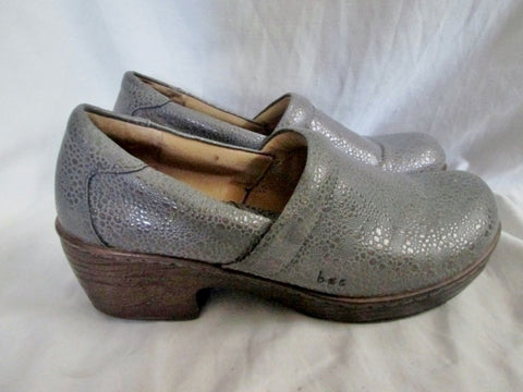 EUC Womens BORN Pebbled Glitter Leather Clogs Shoes Slip-On Mules 10 GRAY