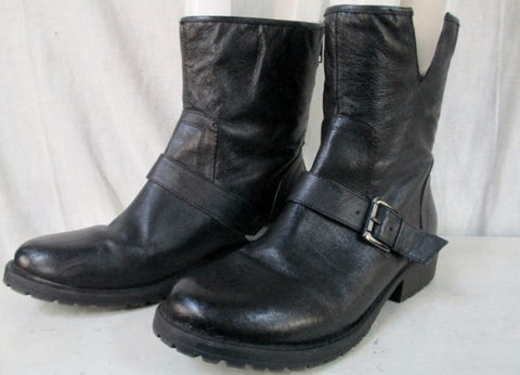 Womens YELLOWBOX DECHEN Leather Ankle Boots Shoes BLACK 8.5 Hipster Goth