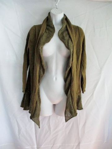 Womens ANTHROPOLOGIE Ruffle Jacket Coat Cardigan Sweater M OLIVE GREEN