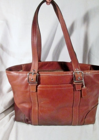 COACH F12609 Large Leather Handbag Satchel Tote Shoulder Bag BROWN Carryall