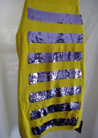 NEW NWT MARC JACOBS Knit Sequin SKIRT M YELLOW PURPLE Defect Bodycon Womens