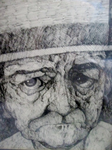 Vintage SIGNED S. TORTORA OLD MAN LITHOGRAPH Portrait Etching Print Frame Picture ART