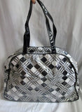 BETSEY JOHNSON VINYL Vegan Satchel Bowler Bag Geometric Plaid BLACK GRAY Hipster