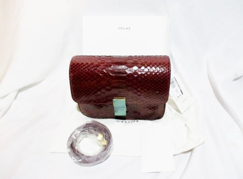 NEW CELINE MEDIUM FLAP BAG PYTHON Leather BORDEAUX SNAKE Purse RED NWT