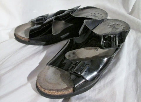 Womens MEPHISTO AIR-RELAX Patent Leather Sandals 36 / 5.5 BUCKLE Clogs Shoes Slip-On