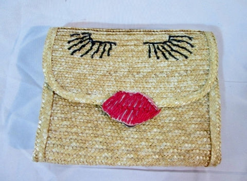 NEW BAY SKY Woven STRAW Basket Bag Purse Clutch BEIGE FACE Eyelash Lips