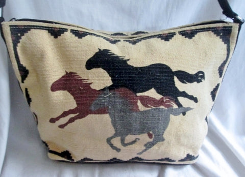 Ethnic Vegan STALLION HORSE Shoulder bag Crossbody White Western Cowboy BROWN Blanket