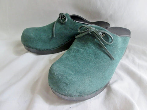 Womens LAND'S END SUEDE Leather Clog Shoe Slip-On Loafer Comfort GREEN 7 Mule