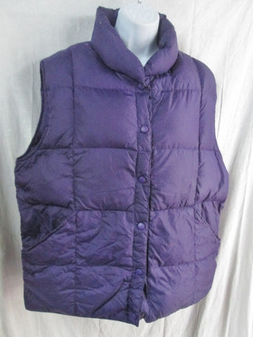 Womens Ladies LAND'S END DOWN Puffer Winter Vest Coat Jacket PURPLE L 14-16 PLUM