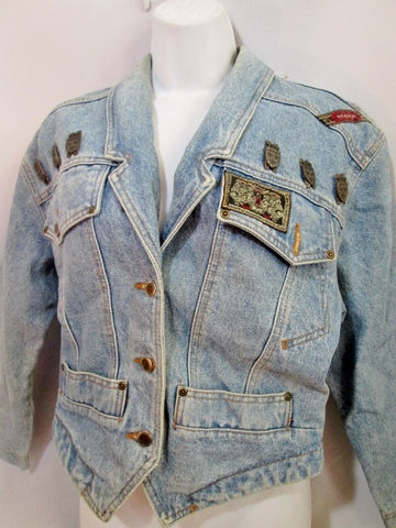 Womens PALMER AUSTRALIA Denim Jean Trucker jacket S BLUE COAT OF ARMS SHIELD Coat
