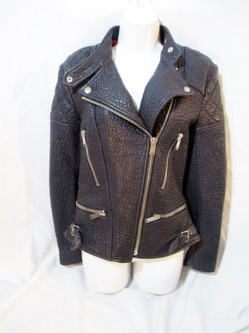 New CELINE ITALY LEATHER Moto Riding jacket coat 36 NAVY BLUE NWT Rocker Womens Flight Bomber