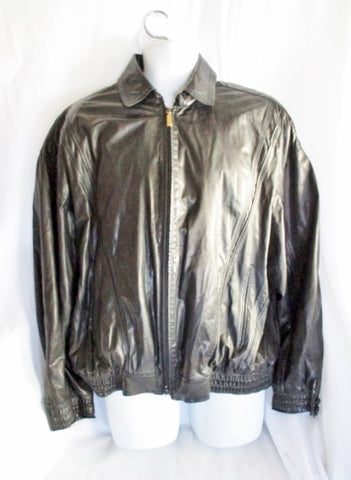ZILLI NAPOLEON FRANCE LAMBSKIN Leather Silk moto jacket BLACK 52 coat MENS biker