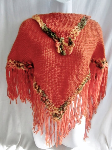 New ATELIER ADONAY Handmade LOOM Poncho Cape Jacket Hippie ORANGE OS FRINGE Ethnic
