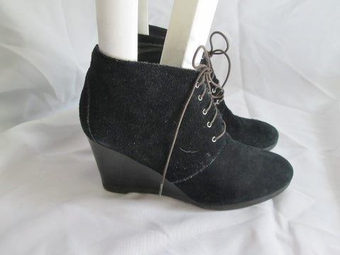 Womens FRANCO SARTO WESTON Suede Ankle Boot Wedge Bootie BLACK 9 PUNK
