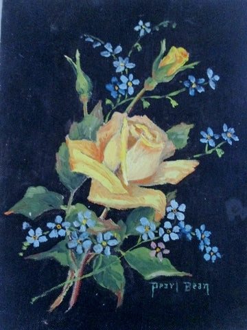 Vintage 1960s PEARL BEAN PAINTING ART FLOWER YELLOW ROSE Friendship BLACK