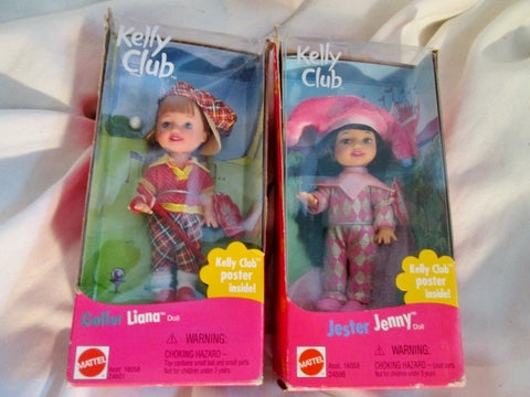 Set 2 NEW NIB KELLY CLUB Mini DOLL  JESTER JENNY GOLFER LIANA 1999 Mattel Toy