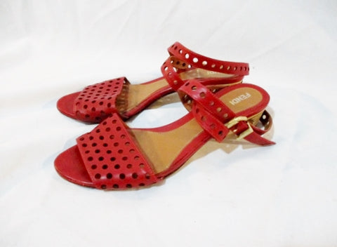 Womens FENDI ITALY Slide Sandal Shoe LEATHER RED 37 / 6.5 Strappy Heel