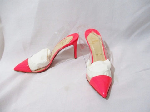 NEW CHRISTIAN LOUBOUTIN UNBOUT SLING CLEAR PINK Pump 36.5 / 6 Shoe Stiletto