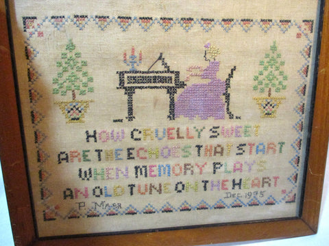 Antique 1905 Primitive Embroidery NEEDLEPOINT SAMPLER EARLY FOLK ART