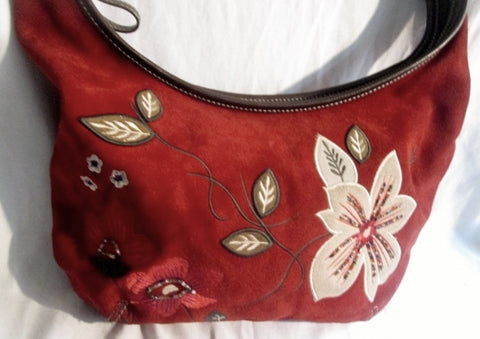 PRESTON & YORK Suede Leather Floral Patch Shoulder Bag Purse M RED WINE