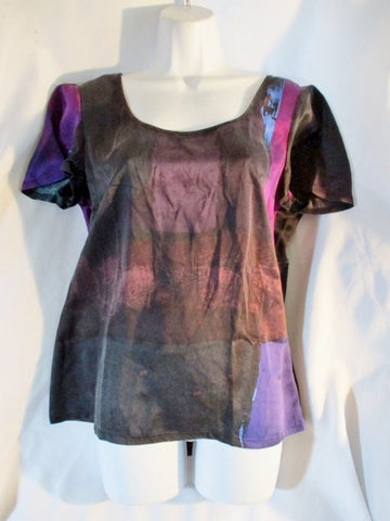 BANANA REPUBLIC 100% SILK Top Shirt Short Sleeve M GRAY PURPLE BLACK Boho