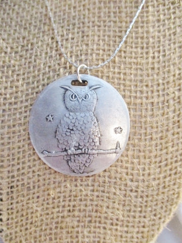 "16"" OWL BIRD DISC Charm PEWTER SILVER Necklace Choker FERTILITY Pendant"