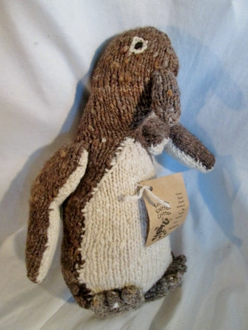 NEW NWT HANDMADE Wool Plush HAND KNIT PENGUIN Stuffed Animal  AFRICA Doll Toy