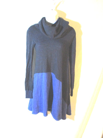BALENCIAGA KNITS Turtleneck Top Shirt Sweater Dress 36 4 BLACK Blue