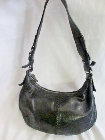 FRANCESCO BIASIA Leather Handbag Shoulder Bag Satchel Hobo Boho BLACK S
