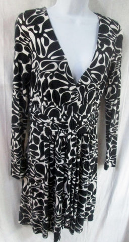 WOMENS Original MILLY of NEW YORK Dress S Belted BLACK WHITE Sexy Retro