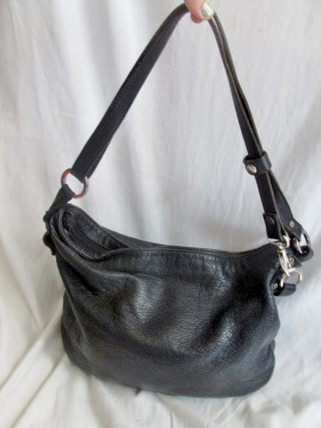 CRISTINA IN PELL ITALY leather hobo satchel shoulder saddle bag BLACK purse Indie Hipster