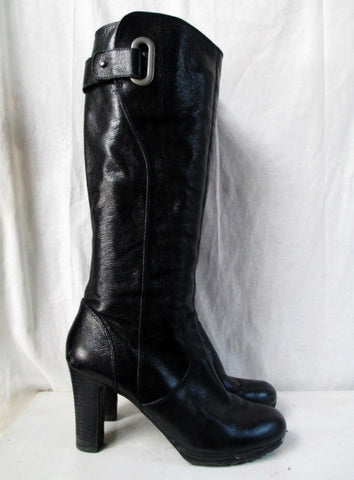 ENZO ANGIOLINI YUDANI Knee Shiny High LEATHER Goth Industrial BOOT Shoe BLACK 9.5