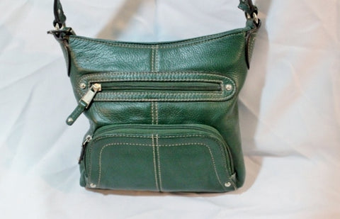 TIGNANELLO Leather Handbag Crossbody Shoulder Bag Wallet GREEN Travel Swingpack