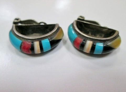 SILVER CLIP ON Stone Turquoise HOOP LOOP Inlay FETISH Clip-on Earring Jewelry ETHNIC Southwest
