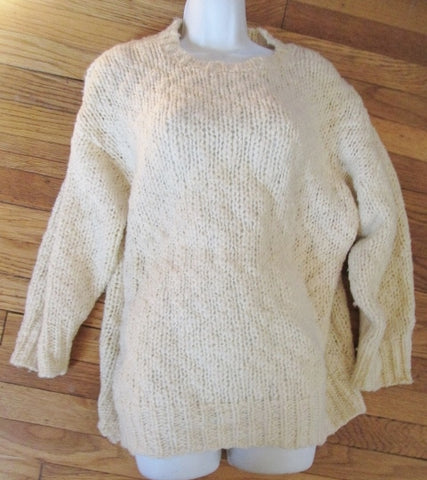 Womens 525 AMERICA Cable Knit Sweater Cotton White Creme Relaxed Oversized OS Chunky