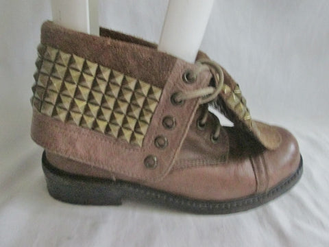Womens DATE LEATHER Cyberpunk Stud SPIKE Combat BOOT Shoe Bootie BROWN 6 Foldover